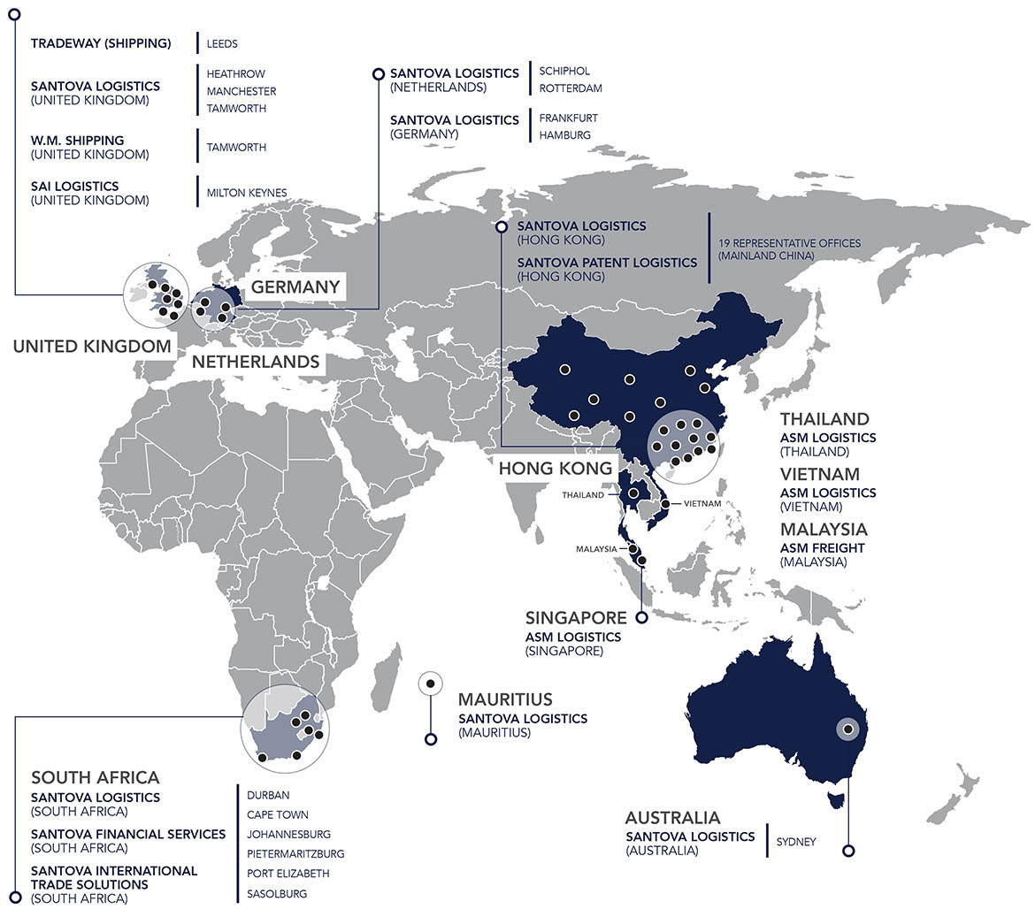 World map showing all Santova offices around the globe